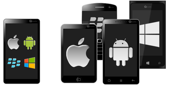 image of web app and native mobile app icons on mobiles