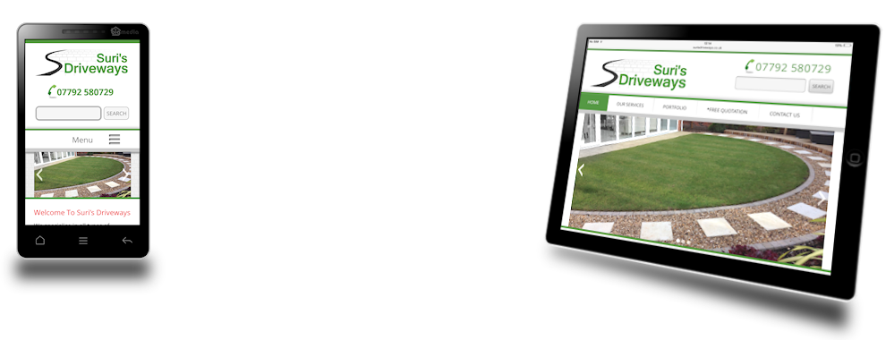 link to mobile-friendly websites page via image of surisdriveways site on mobile and tablet