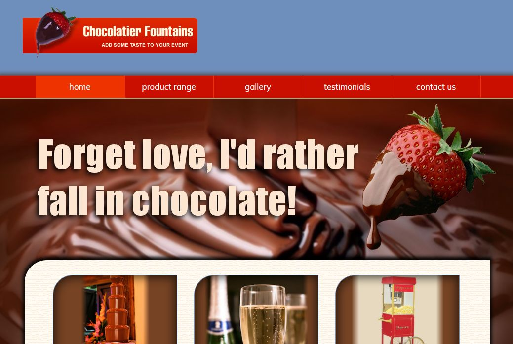 image of Chocolatier Fountains site developed by Big Media