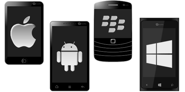 image of apple, android, blackberry and windows mobile handsets