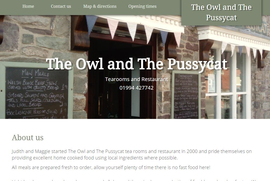 image of The Owl and The Pussycat site developed by Big Media