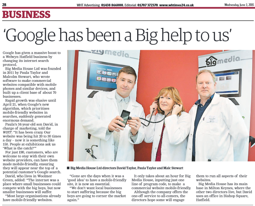 image of Big Media's Google Mobile Web Doctors in the Welwyn and Hatfield Times