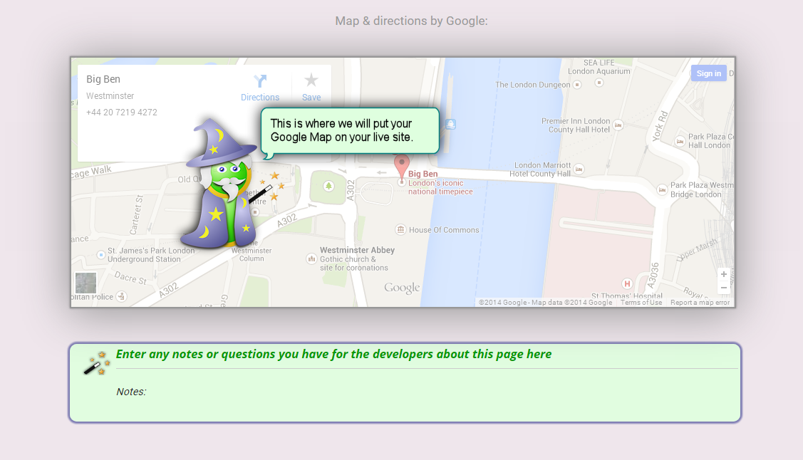 image of wizard caricature showing where an embedded map will appear on user's self-build website